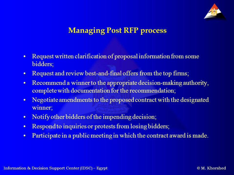 Managing Post RFP process