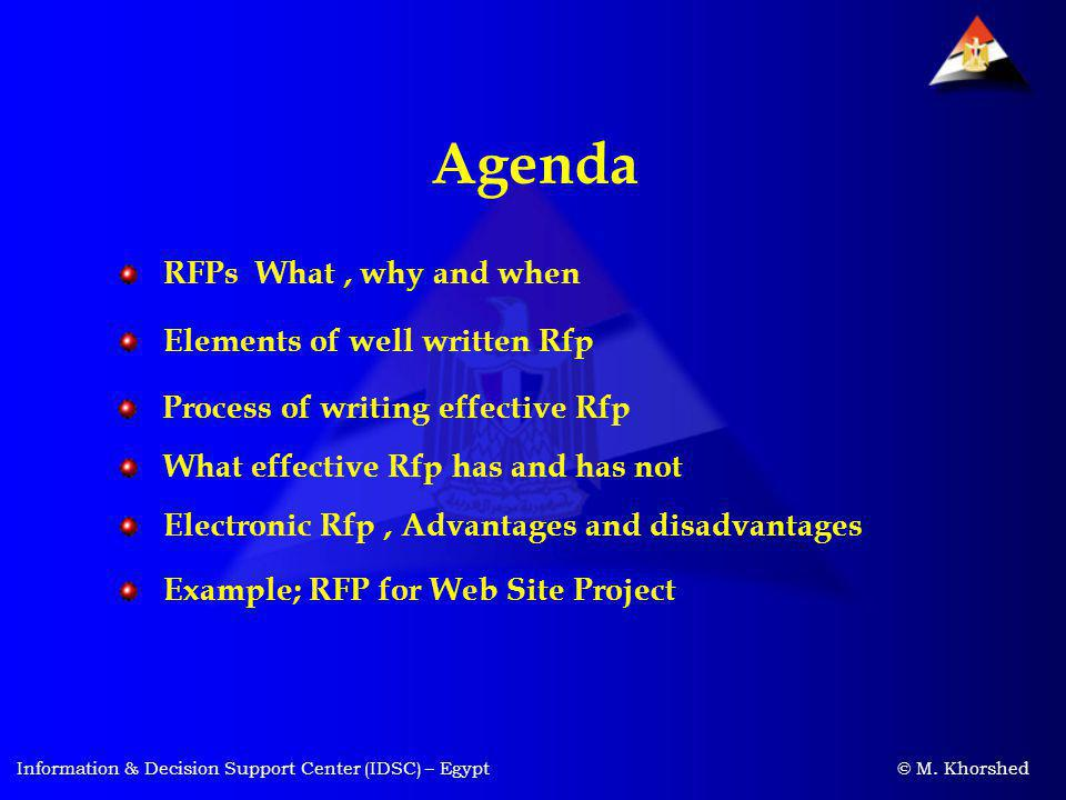 Agenda RFPs What , why and when Elements of well written Rfp