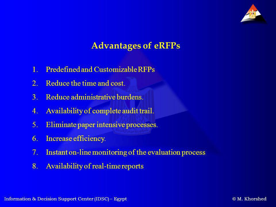 Advantages of eRFPs Predefined and Customizable RFPs