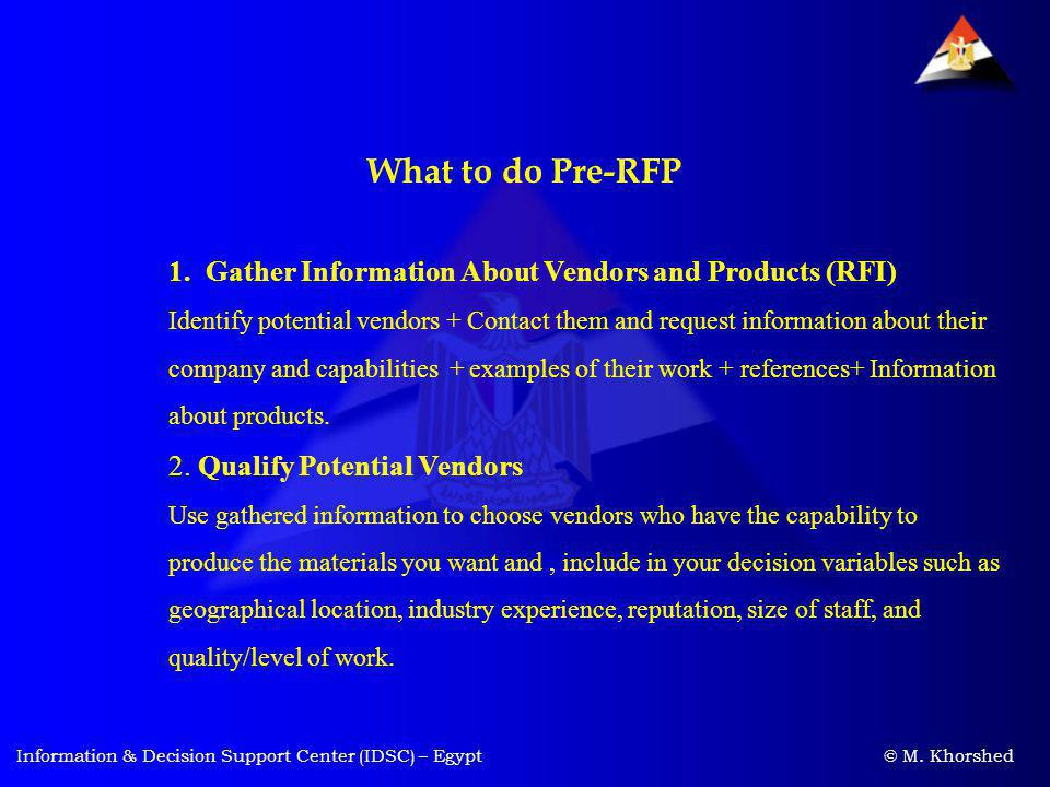 What to do Pre-RFP