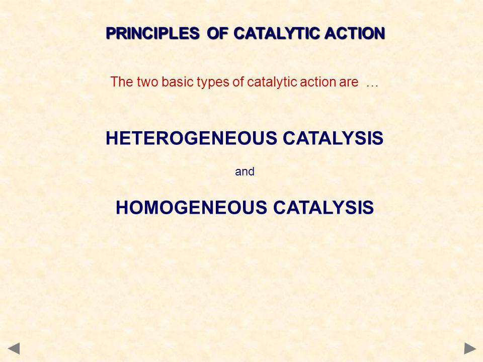 PRINCIPLES OF CATALYTIC ACTION HETEROGENEOUS CATALYSIS