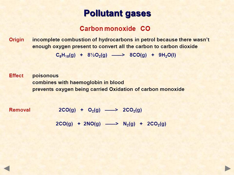 Pollutant gases Carbon monoxide CO