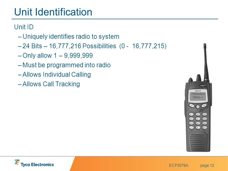 Unit Identification Unit ID Uniquely identifies radio to system