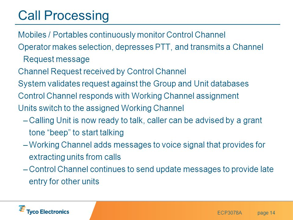 Call Processing Mobiles / Portables continuously monitor Control Channel.