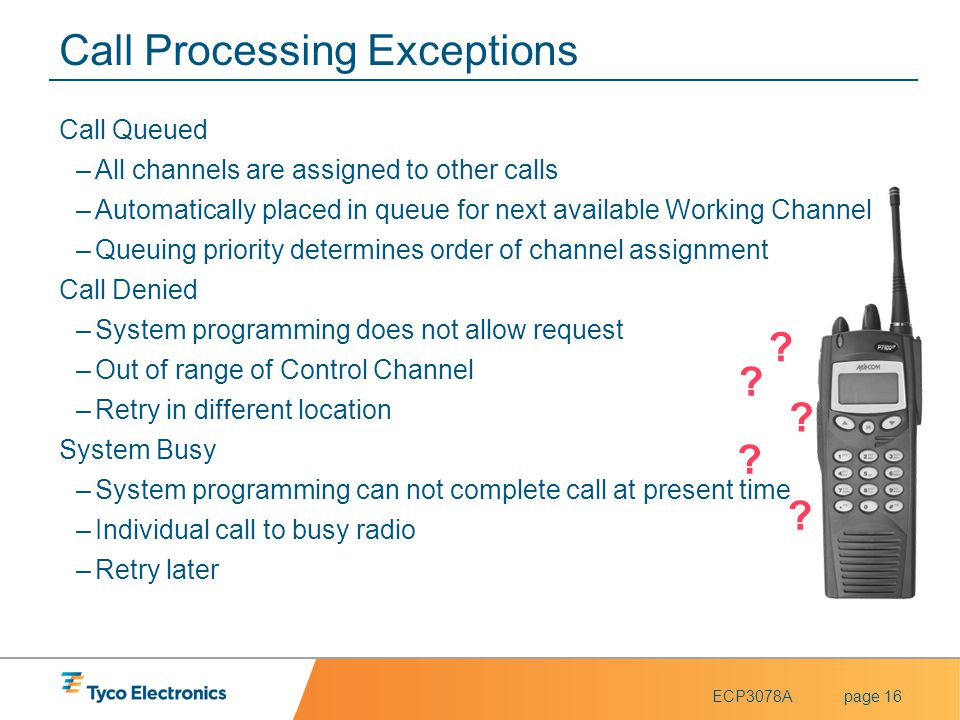 Call Processing Exceptions
