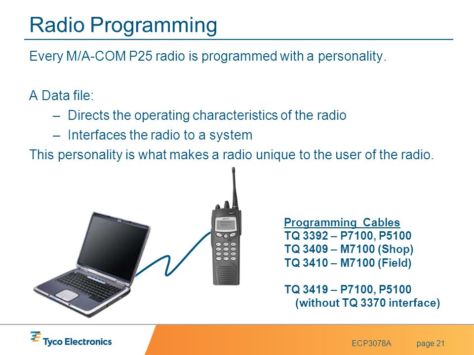 Radio Programming Every M/A-COM P25 radio is programmed with a personality. A Data file: Directs the operating characteristics of the radio.