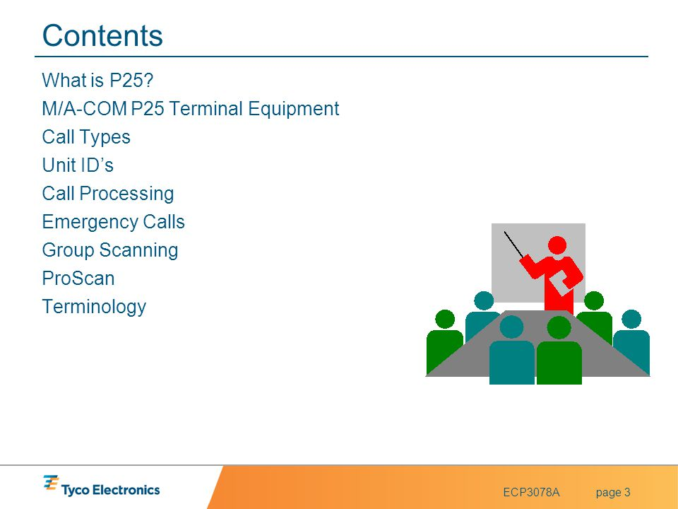 Contents What is P25 M/A-COM P25 Terminal Equipment Call Types