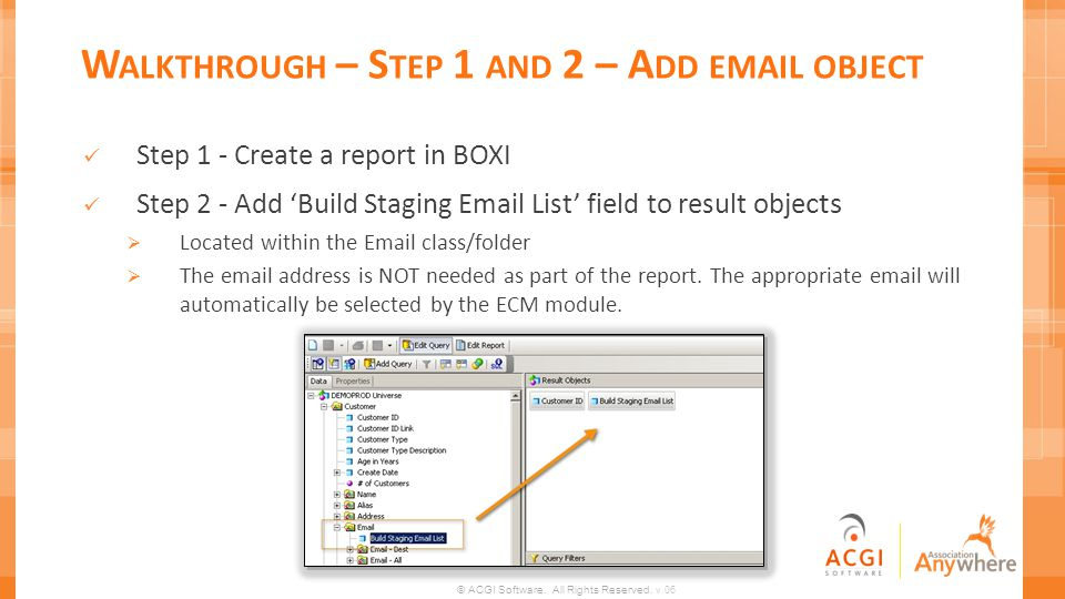 Walkthrough – Step 1 and 2 – Add email object