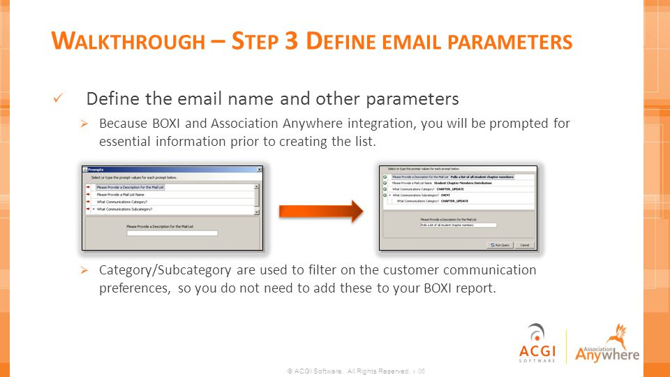 Walkthrough – Step 3 Define email parameters