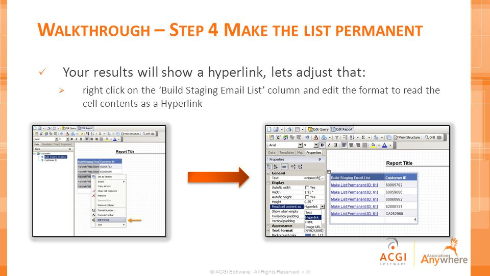 Walkthrough – Step 4 Make the list permanent