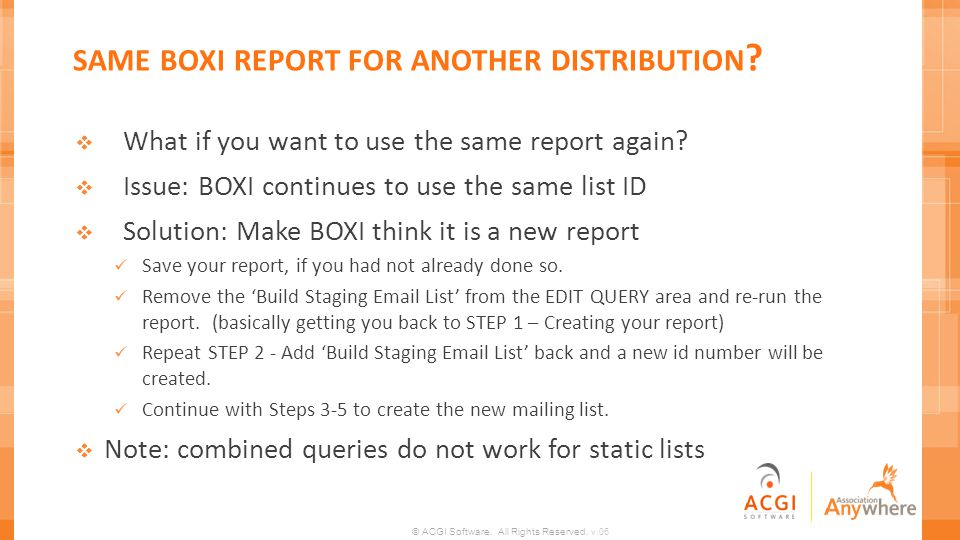 same boxi report for another distribution