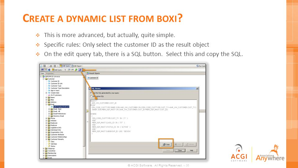 Create a dynamic list from boxi