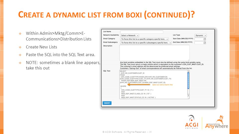 Create a dynamic list from boxi (continued)