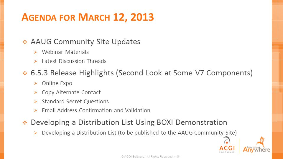 Agenda for March 12, 2013 AAUG Community Site Updates