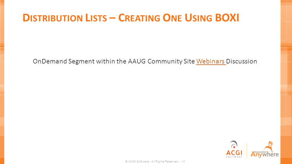 Distribution Lists – Creating One Using BOXI