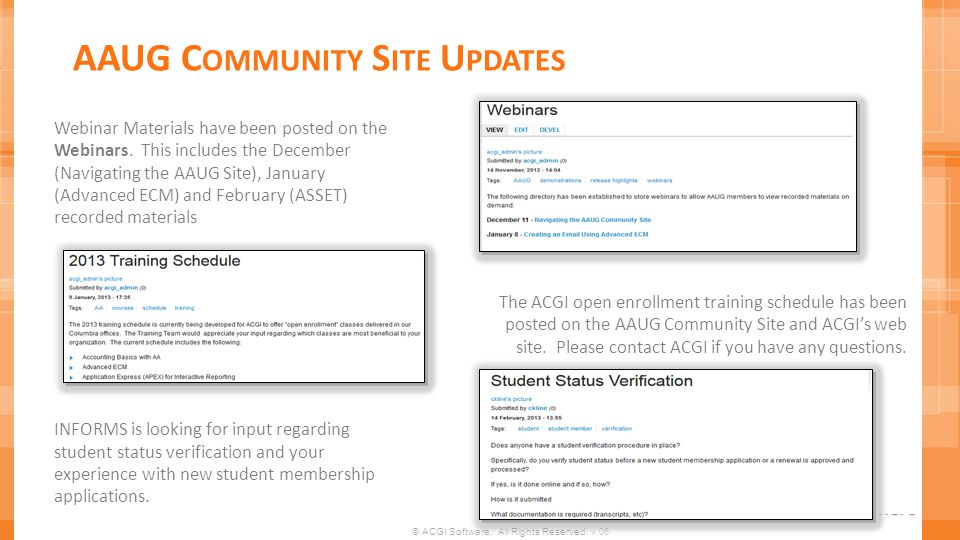 AAUG Community Site Updates