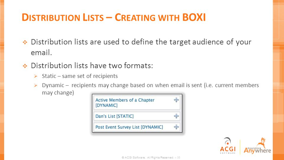 Distribution Lists – Creating with BOXI