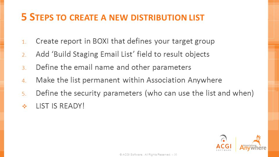 5 Steps to create a new distribution list