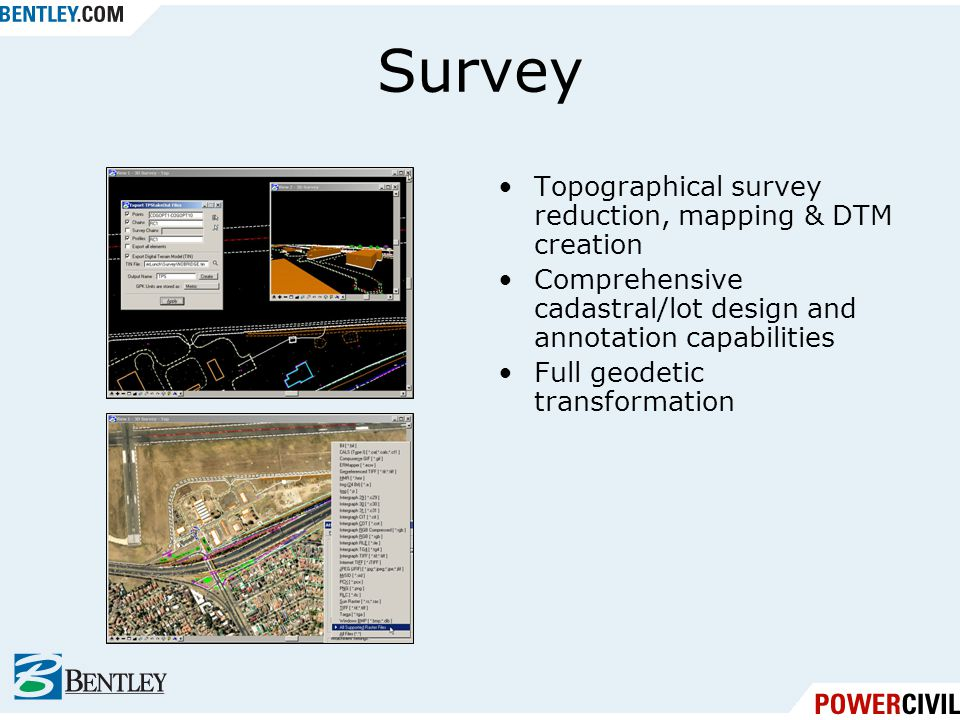 Survey Topographical survey reduction, mapping & DTM creation