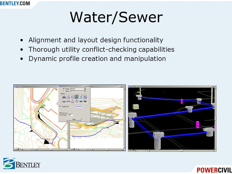 Water/Sewer Alignment and layout design functionality