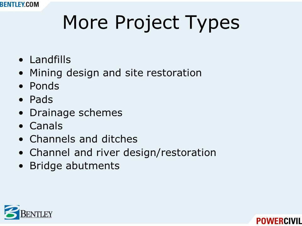 More Project Types Landfills Mining design and site restoration Ponds