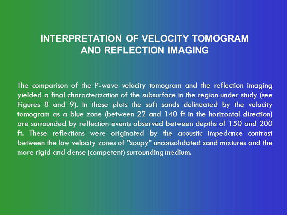 INTERPRETATION OF VELOCITY TOMOGRAM AND REFLECTION IMAGING