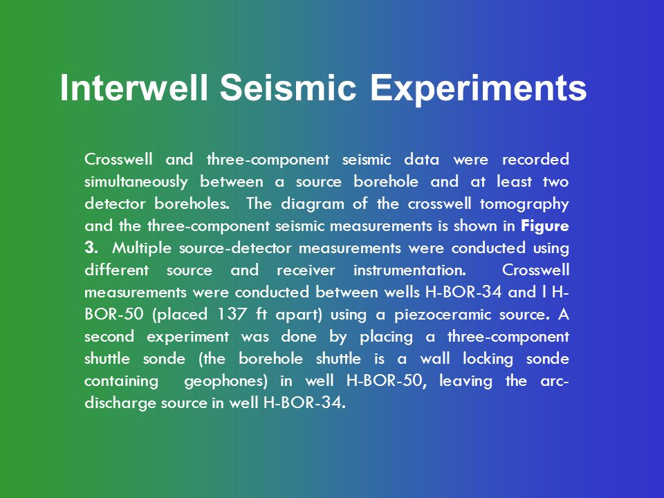 Interwell Seismic Experiments