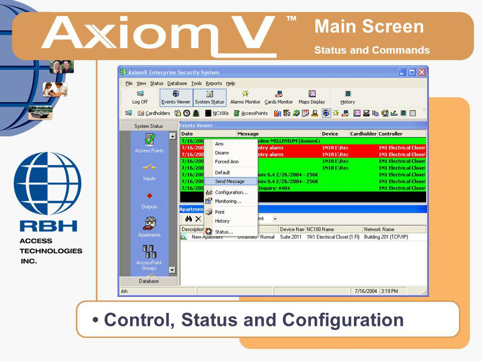 • Control, Status and Configuration