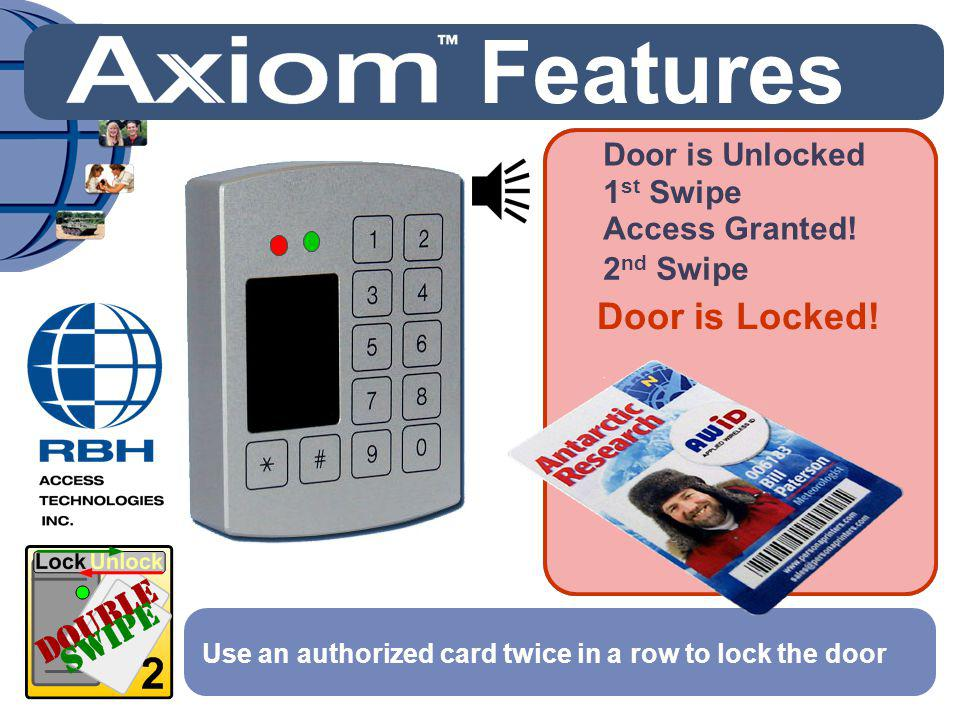 Features Door is Locked! Door is Unlocked 1st Swipe Access Granted!