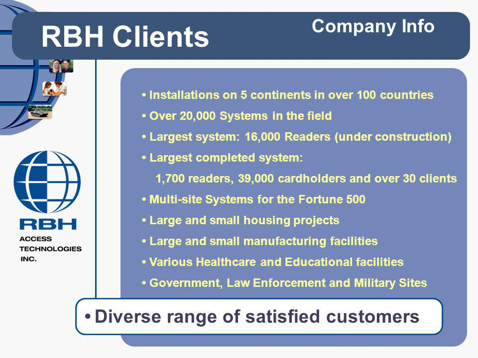 RBH Clients Company Info • Diverse range of satisfied customers