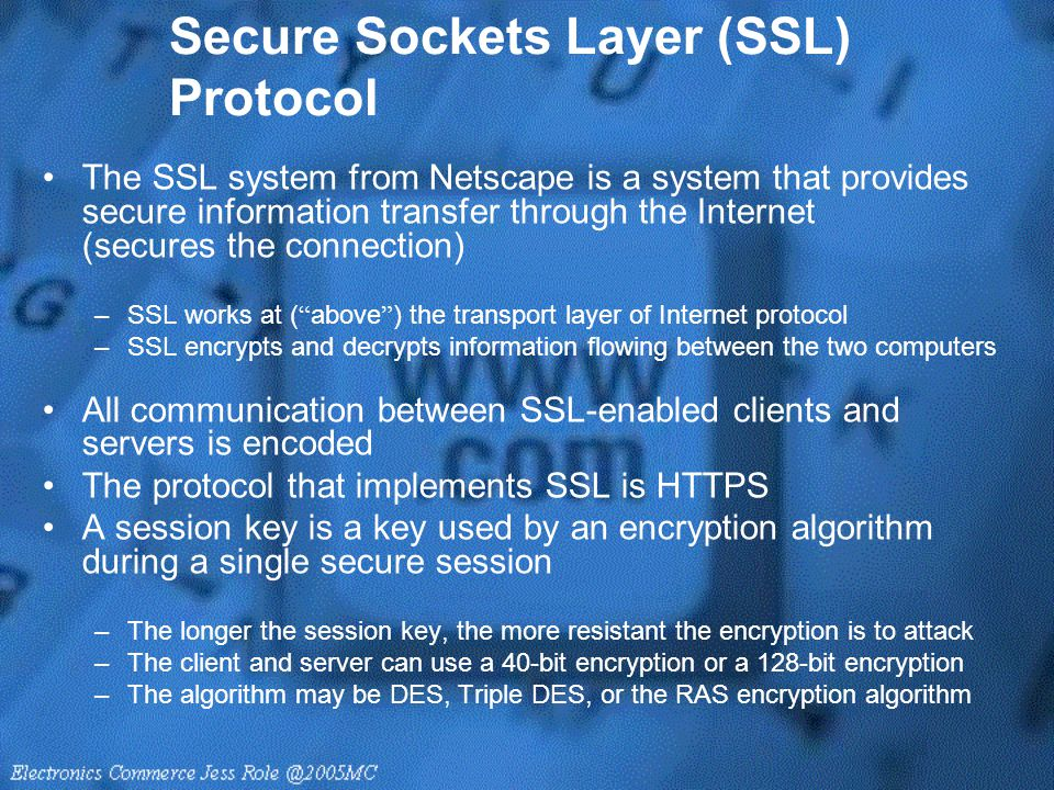 Secure Sockets Layer (SSL) Protocol