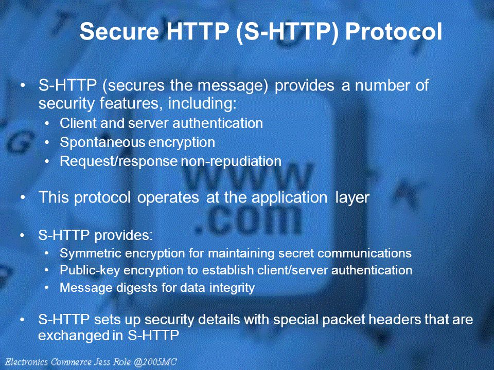 Secure HTTP (S-HTTP) Protocol