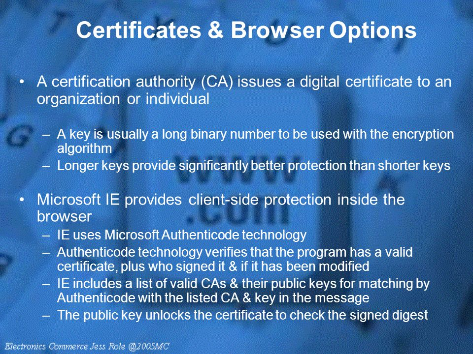 Certificates & Browser Options