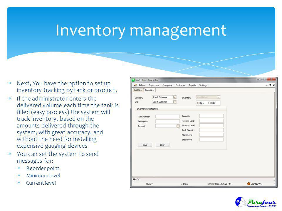 Inventory management Next, You have the option to set up inventory tracking by tank or product.