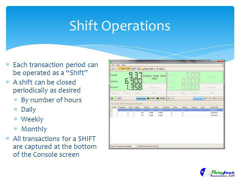 Shift Operations Each transaction period can be operated as a Shift