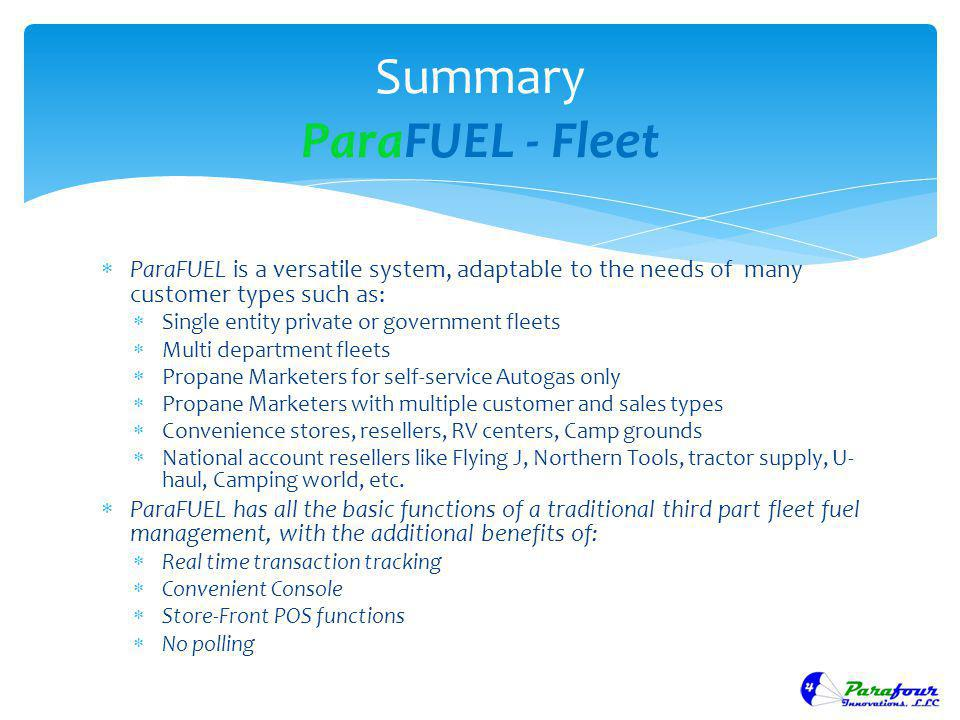 Summary ParaFUEL - Fleet