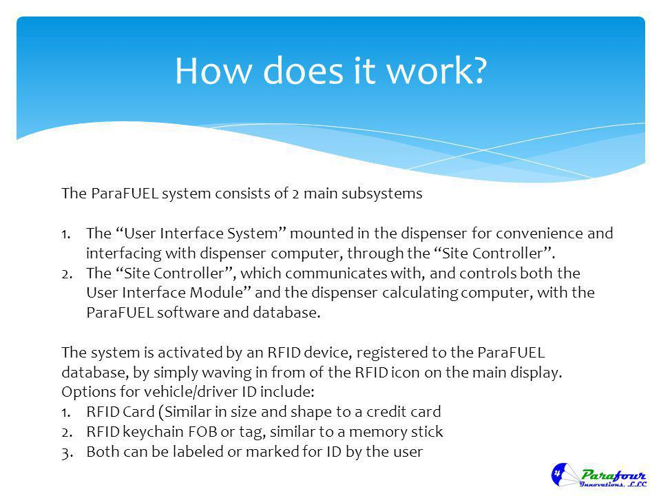 How does it work The ParaFUEL system consists of 2 main subsystems
