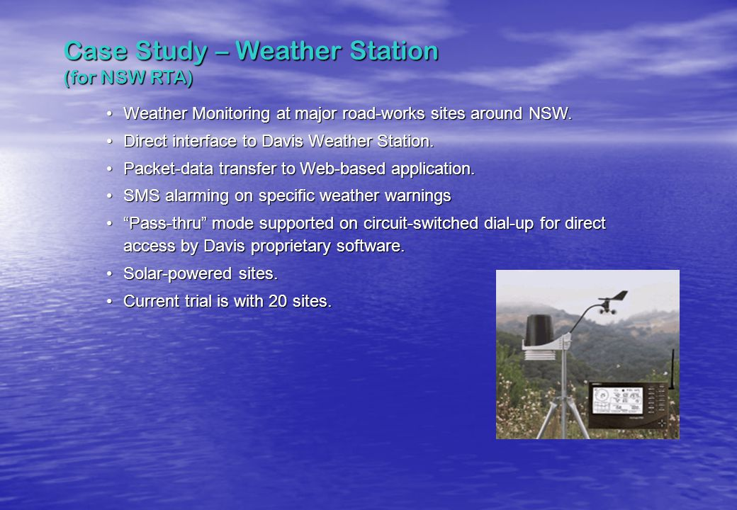 Case Study – Weather Station (for NSW RTA)
