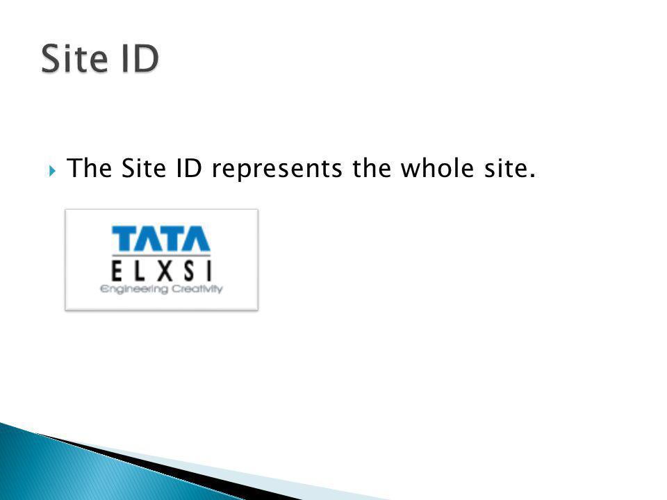 Site ID The Site ID represents the whole site.