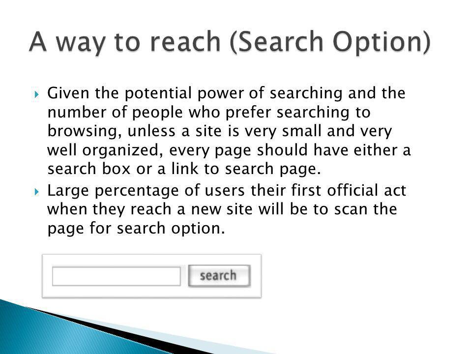 A way to reach (Search Option)