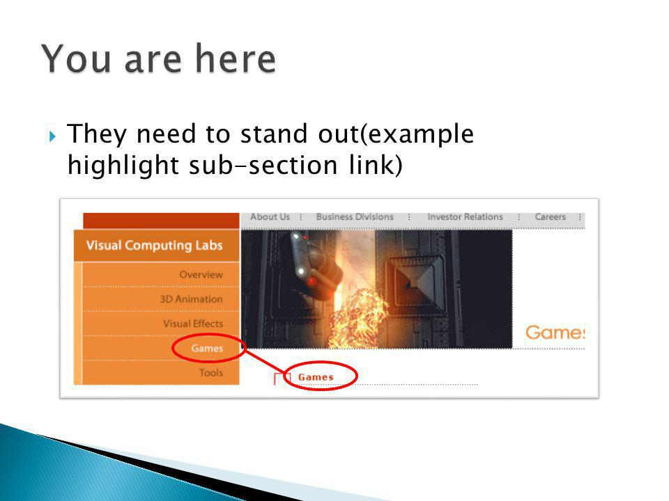 You are here They need to stand out(example highlight sub-section link)