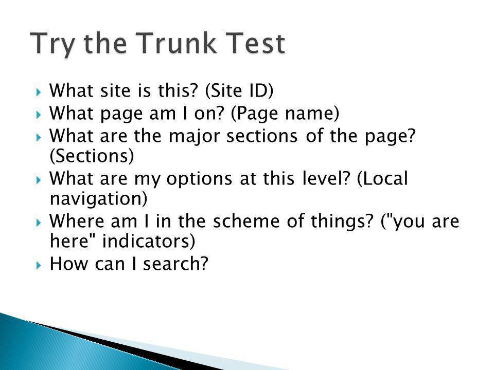 Try the Trunk Test What site is this (Site ID)