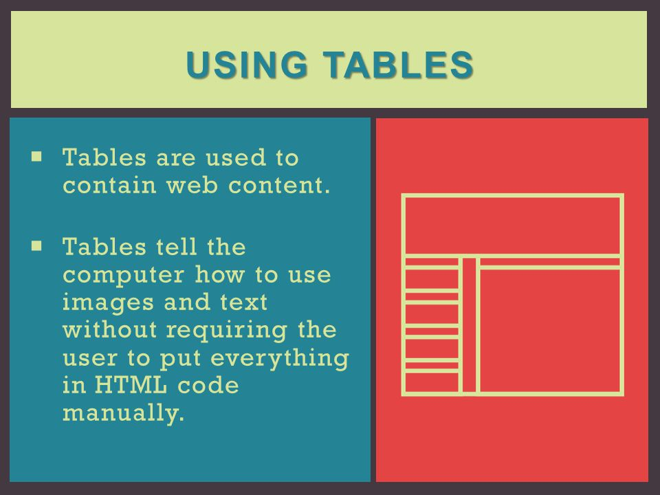 Using Tables Tables are used to contain web content.