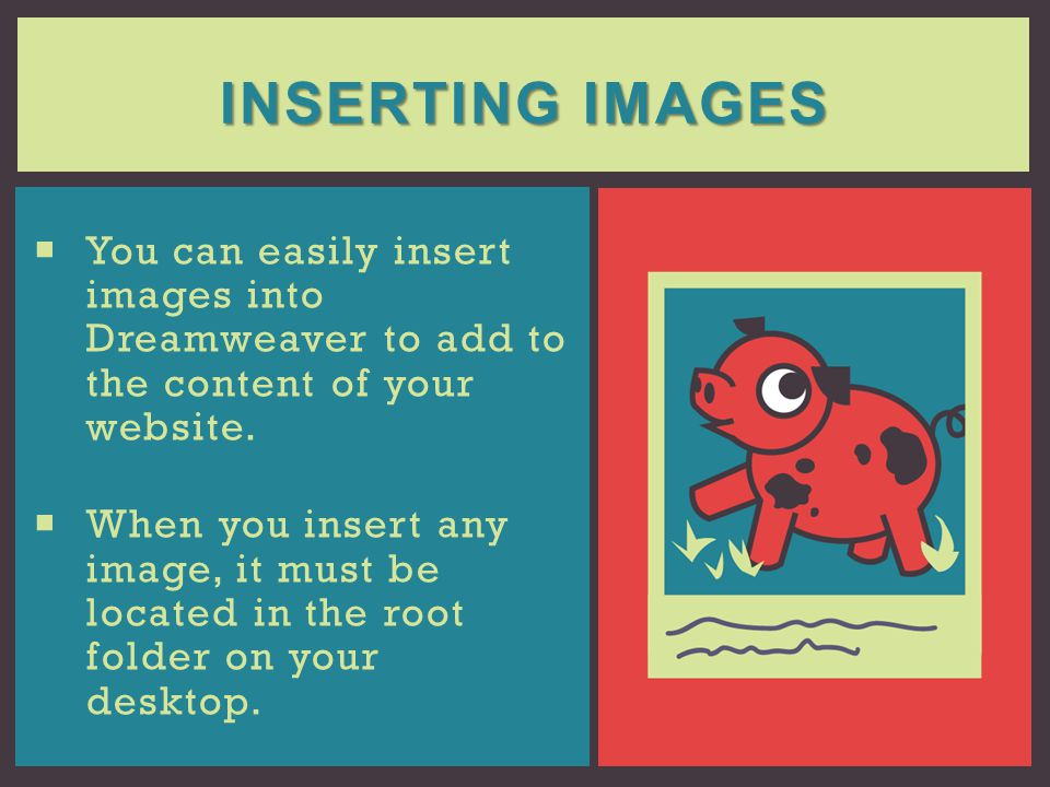 Inserting Images You can easily insert images into Dreamweaver to add to the content of your website.
