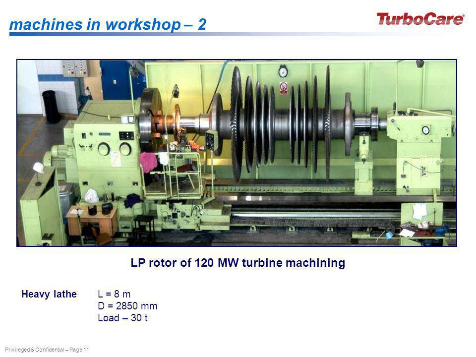 LP rotor of 120 MW turbine machining