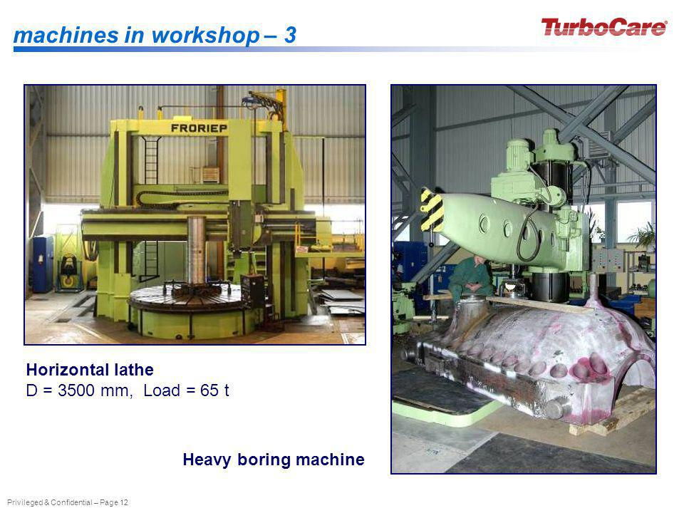 machines in workshop – 3 Horizontal lathe D = 3500 mm, Load = 65 t