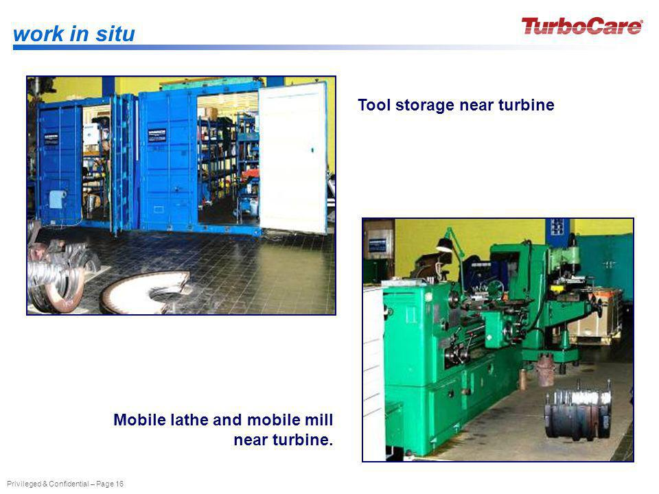 work in situ Tool storage near turbine