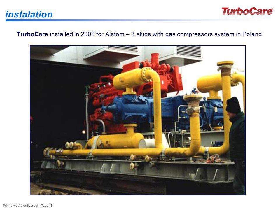 instalation TurboCare installed in 2002 for Alstom – 3 skids with gas compressors system in Poland.