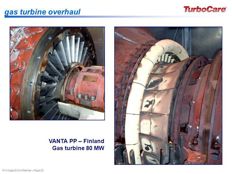 gas turbine overhaul VANTA PP – Finland Gas turbine 80 MW