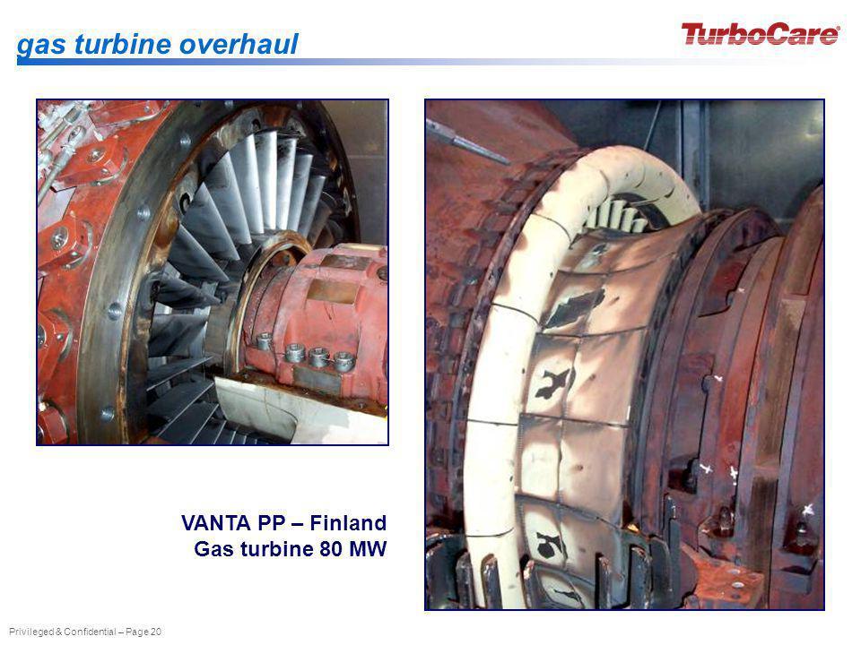 gas turbine overhaul VANTA PP – Finland Gas turbine 80 MW